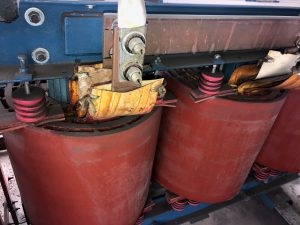 Substation transformer before dry ice cleaning