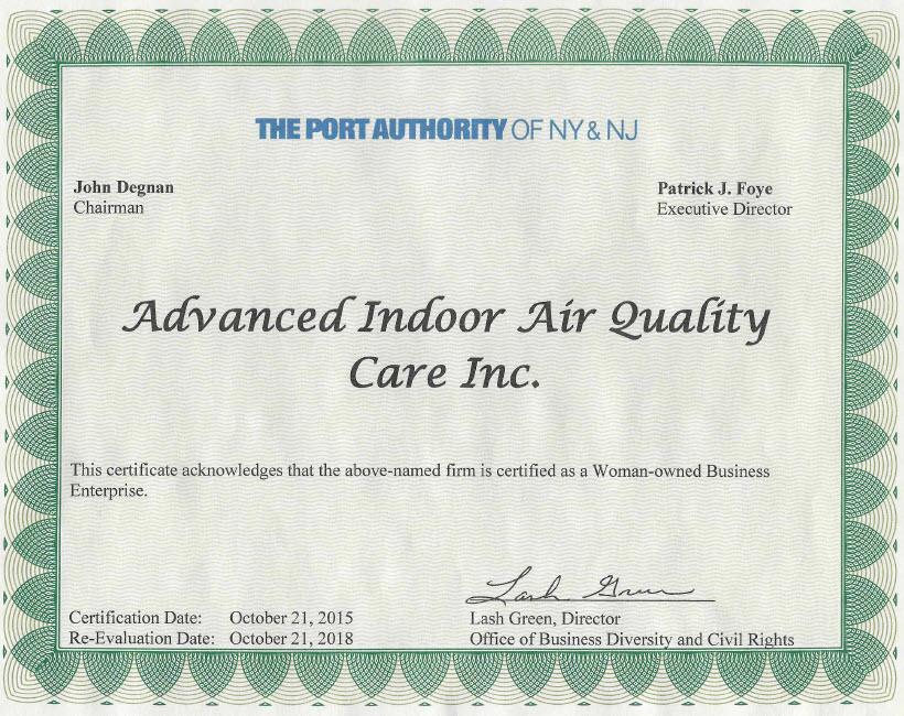 NJ & NY certificate