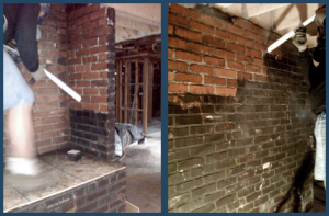 Brick wall fire restoration in progress